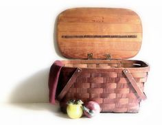 Vintage Jerywil Wov-N-Wood Two Handle Picnic Basket by recreated1