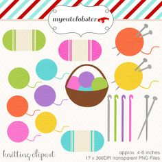 Knitting Clipart Set clip art set of by mycutelobsterdesigns, $4.00