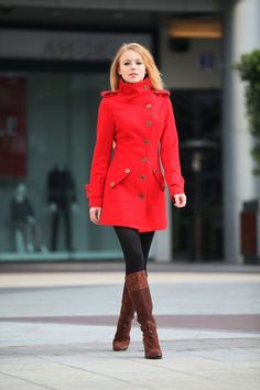 Red Cashmere Coat Fitted Military Style Wool by Sophiaclothing, $139.99 by mercedes.schmitt