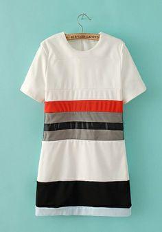 Fashoin Enchating Fashionable Dizzying Blending round neck Short Sleeve Striped Fashion Dresses