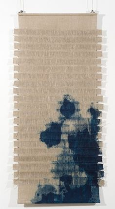 Hand-woven with linen and silk incorporating torn cloth strips. Indigo dye by Louise Renae Anderson Weaving Textiles, Weaving Art, Tapestry Weaving, Loom Weaving, Hand Weaving, Textile Texture, Textile Fiber Art, Shibori, Design Textile
