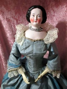 """22"""" German Pink tint Bun China 1860 Wonderful Face and Leather body SPECIAL SALE 