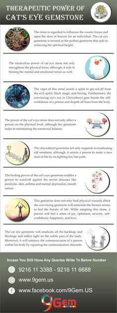 The distinctive color and compelling metaphysical and healing properties of the cat's eye or Chrysoberyl gemstone has significant importance in the emergence of this stone. Cats Eye Stone, Evil Spirits, Self Confidence, Spirituality, Healing, Eyes, Gemstones, Infographic, Color