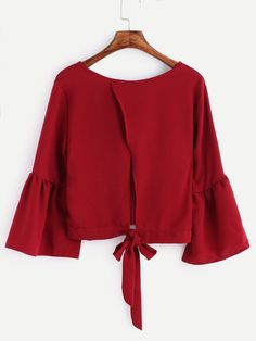 Shop Burgundy Bell Sleeve Bow Tie Back Blouse online. SheIn offers Burgundy Bell Sleeve Bow Tie Back Blouse & more to fit your fashionable needs. Moda Fashion, Hijab Fashion, Girl Fashion, Fashion Dresses, Blouse Styles, Blouse Designs, Pretty Outfits, Cute Outfits, Hijab Stile