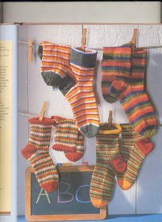 Pletené proužkované ponožky+návod
