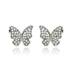 Arinna Posh Lovely Butterfly Wedding Earrings Stud 18K White Gp Swarovski Clear Crystal Arinna. $13.98