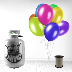 Disposable Helium Gas Cylinder with 30 Assorted plain colour Latex 9 Inch balloons and Curling Ribbon included. Capacity: Each Cylinder 0.25 Cubic metres Th