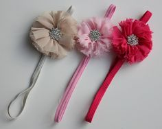 Skinny Elastic Headband with Chiffon Flower & Rhinestone Center Chiffon Flowers, Elastic Headbands, Skinny, Boutique, Crafts, Manualidades, Lean Body, Thin Skinny, Boutiques