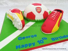 Football and Soccer Boots Cake http://www.cakescrazy.co.uk/details/football-boots-and-ball-cake-arsenal-10059.html
