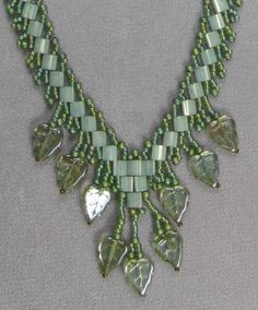 Deb's Tila Bead and Glass Leaf Necklace