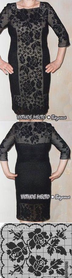 Платье. Филейное вязание.