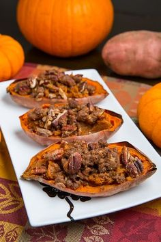 Twice Baked Sweet Potato ~ Potato Skins with Pecan Streusel (aka Individual Sweet Potato Casseroles) - I really liked this. I control the amount of sweet, butter, nuts, etc. and there is no dairy ~ for me this is a healthy, lighter experience of sweet potatoes.