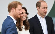 Prince Harry and the Duke and Duchess of Cambridge arriving at the launch event in London's Olympic Park 16 may 2016