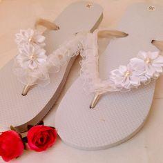 Handmade Jewelry, Bridal Jewelry & Accessories by GalitDesigns Bride Flip Flops, Wedding Flip Flops, Bridal Accessories, Bridal Jewelry, Bride Slippers, Beach Wedding Shoes, Beaded Sandals, Ladies Dress Design, Handmade Jewelry