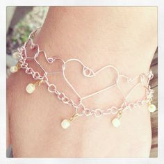 Pink Wire Hearts Bracelet with Gold Dangling Wire by JewelsofJane, $12.00