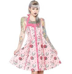 If it's little white bunnies you're looking for this season, then look no further! The super flattering silhouette of our Peggy Dress is the perfect foundation for this fun zombie bunny print! Wear it to all your springtime functions and be the center Rockabilly Moda, Rockabilly Outfits, Rockabilly Fashion, Gothic Outfits, Gothic Dress, Zombie Bunny, Dresses Uk, Summer Dresses, Steampunk