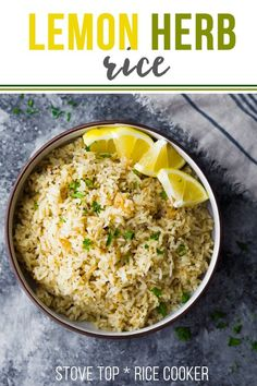 Herb lemon rice has delicious citrus and herb flavors and is easily prepped on the stove top or in a rice cooker! via Herb lemon rice has delicious citrus and herb flavors and is easily prepped on the stove top or in a rice cooker! via Herb lemon rice ha Rice Side Dishes, Food Dishes, Greek Side Dishes, Simple Rice Dishes, Pork Chop Side Dishes, Chicken Side Dishes, Lamb Side Dishes, Side Dishes For Fish, Indian Side Dishes