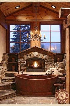 Fire place bathroom
