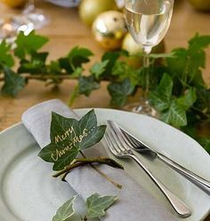 Tree ivy, plain and simple, is the indispensable greenery for making quick festive effects. Cut long, leafy lengths and use them to trail down the centre of the Christmas table, to garland around the Christmas Table Settings, Christmas Table Decorations, Decoration Table, Christmas Place Setting, Christmas Place Cards, Christmas Tables, Classy Christmas, Noel Christmas, Christmas Crafts