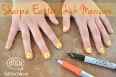 Sharpie Easter Chick Manicure DIY for Tweens | Tween Crafts - Connecting Mom and Daughter through crafting