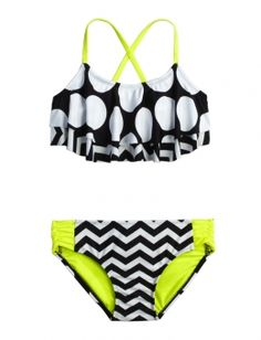 DOT STRIPE FLOUNCE BIKINI SWIMSUIT | GIRLS BIKINIS SWIMSUITS | SHOP JUSTICE