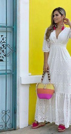 80s Fashion, White Fashion, Women's Fashion Dresses, Boho Fashion, Fashion Hair, Stylish Dresses For Girls, Cute Dresses, Casual Dresses, Ibiza Dress