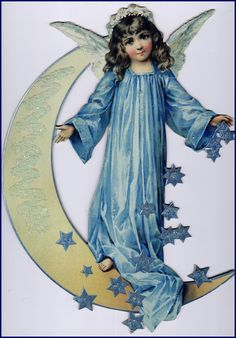 Blue Stars and Angel on the moon, Worship and Praise Him because the Lord is coming soon.