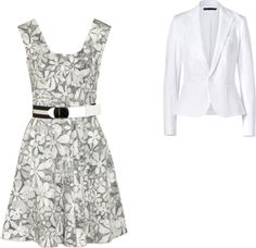 """""""Grey and white dress with blazer"""" by hina-usman on Polyvore"""
