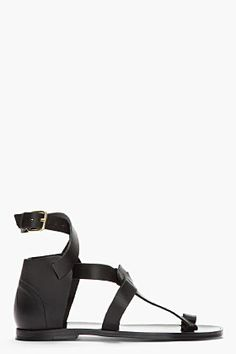 Pierre Hardy Black Leather Dy02 Gladiator Sandals for men | SSENSE