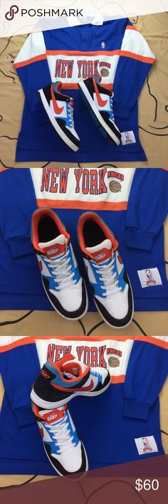 Nike SB Zoom Air Morgan 2 386380-104 , 2011 release. EUC worn a few times and super clean. Knicks colorway. If you purchase the shoes I will include the vintage Nutmeg Official NBA Long Sleeve as a free gift. Size large. Nike Shoes Sneakers