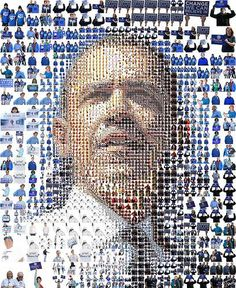 The Obama News Mosaic  We've already written about collectors going crazy over the newspaper covers of Barack Obama's presidential election victory, but the Obama News Mosaic is a collage of the president-elect's face using all of those prized newspaper covers.