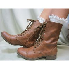 Prairie Girl white crochet lace socks for lace up combat boots country... ($18) ❤ liked on Polyvore featuring intimates, hosiery, socks, shoes, white hosiery, white socks, knit socks and lace up socks
