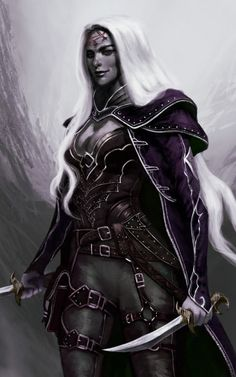 f Drow Elf Rogue Arcane Trickster Leather Armor Cloak Dagger Sword Poison female ArtStation by Mauro Alocci lg Elfen Fantasy, Fantasy Rpg, Medieval Fantasy, Dark Fantasy Art, Fantasy Girl, Fantasy Artwork, Dungeons And Dragons Characters, Dnd Characters, Fantasy Characters
