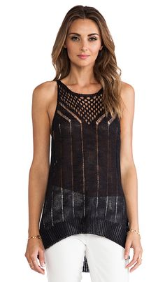 Elizabeth and James Pointelle Racer Tank in Black