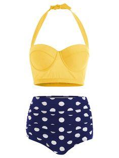 Plus Size Swimwear Bikinis Polka Dot Plus Size Halter High Waisted Bikini Plus Size Bikini Bottoms, Women's Plus Size Swimwear, Curvy Swimwear, Bikini Swimwear, Bikinis, Polka Dot Bikini, Yellow Bikini, Polka Dots, Outfits Plus Size