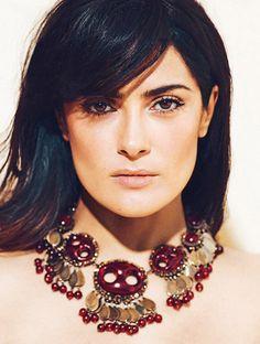 Hair by Robert Vetica: Salma Hayek Smolders in latest issue of Madame Figaro.