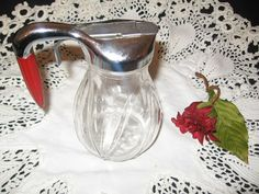 Glass Syrup Pitcher Vintage Glass Bakelite by CollectorVintageShop