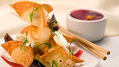 Buttermilk Blue®, Fig and Port Wontons - Roth Cheese Executive Chef, Fig, Snack Recipes, Food And Drink, Appetizers, Chips, Wontons, Dining, Recipe Ideas