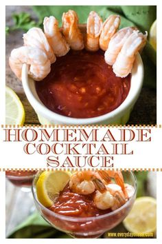 Homemade Cocktail Sauce is delicious and tastes so much better than any jarred store made sauce. Just a few ingredients and about 5 minutes to a mouthwatering cocktail sauce! Perfect for poached shrimp and seafood! Appetizers For A Crowd, Seafood Appetizers, Seafood Recipes, Appetizer Recipes, Dinner Recipes, Cooking Recipes, Healthy Recipes, Cocktail Recipes, Shellfish Recipes
