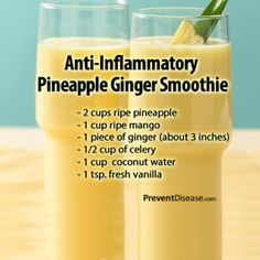 Anti-Inflammatory Pineapple Ginger Smoothie Pineapple has been used for centuries to reduce pain and inflammation. It turns out that an enzyme found in pineapples called bromelain does, in fact, have scientifically proven medicinal benefits. Two molecules isolated from an extract of crushed pineapple stems have even shown promise in fighting cancer growth. Studies have shown that bromelain reduces swelling, bruising, healing time and pain. An even more potent anti-inflammatory is ginger…