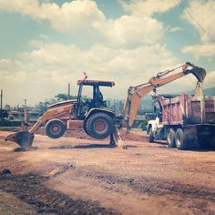 Back hoe. Road construction at SCAB