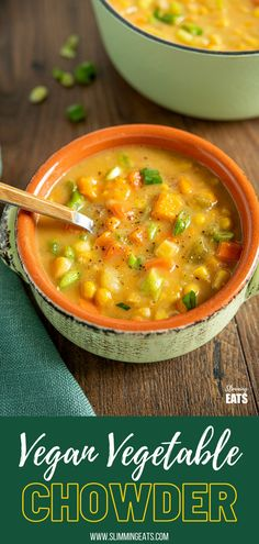 Creamy Vegan Vegetable Chowder - this chowder is delicious and packed with healthy vegetables. Perfect for those cold chilly fall and winter months.#vegan #glutenfree #dairyfree #slimmingworld #weightwatchers