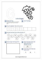 Lowercase Alphabet Recognition Activity Worksheet - Small Letter - g for grapes Alphabet Writing Practice, Alphabet Tracing, Alphabet Activities, Preschool Activities, Pre Writing, Writing Skills, Free Printable Worksheets, Printable Alphabet, Printables