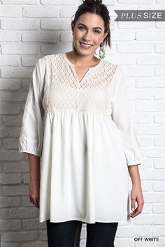 8c65ba3bbb3 Gathered Bib Front and Solid Off White Color Babydoll Lace Mini Dress by  Umgee USA Plus Sizes XL Solid color Off White Debra s Passion Boutique