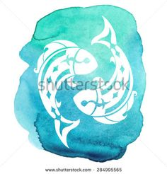 Pisces zodiac sign on watercolor background. Vector Illustration
