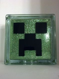 Items similar to Minecraft Creeper Glass Block Display Piece - Free personalization on Etsy