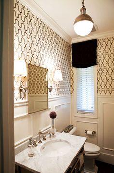 Half Bathroom Decorating Ideas - I like the lights and wallpaper/wainscoting