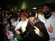 Matthew Slater, Danny Amendola, Julian Edelman, & Rob Ninkovich supporting the Red Sox during the World Series!