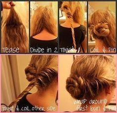 DIY Coiled Bun hair creative diy bun diy ideas diy crafts do it yourself easy diy diy hair diy tips coiled bun