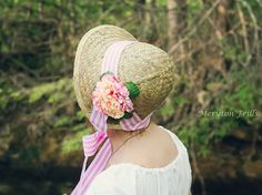 Jane Austen bonnet regency era bonnet pink and by MerytonFrills